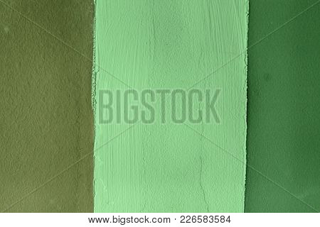 Wall With Lines, Detail Of Decoration In The City, Green Textured Background.