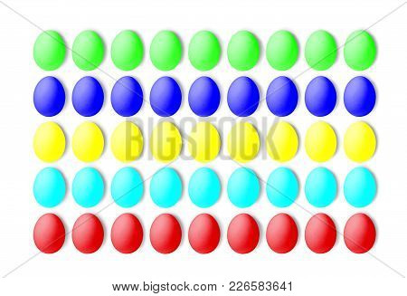 Set Of Colorful Eggs On A White Background, Laid In A Line. Isolated