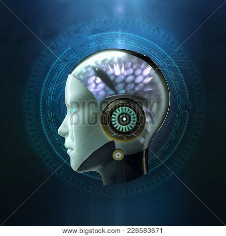 3d Rendering Of The Head Of A Female Robot With Glowing Hi Tech Ai Artificial Intelligence Cyber Bra