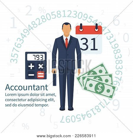 Accountant, Businessman. Set Icons Flat Design. Concept Of Accounting And Calculation. Vector Illust