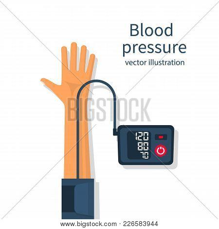 Man Measuring Patient Blood Pressure. Checking Arterial Blood Pressure Digital Device Tonometer. Hea