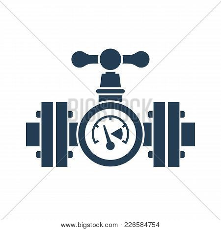 Gas Pipeline With A Valve And Manometer Silhouette. Vector Illustration Flat Design. Industry System