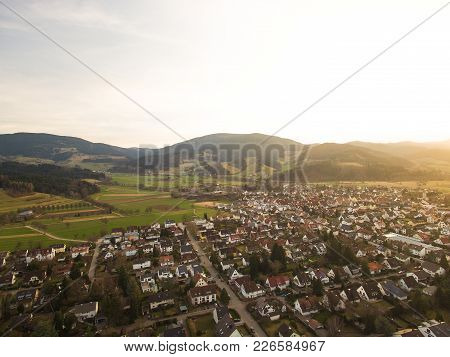 Aerial View Of Landmark With Town And Hills With Backlit, Germany