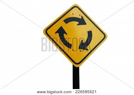 Roundabout Traffic Yellow Sign In Clockwise With Black Pole On White Background. It Can Be Flipped T