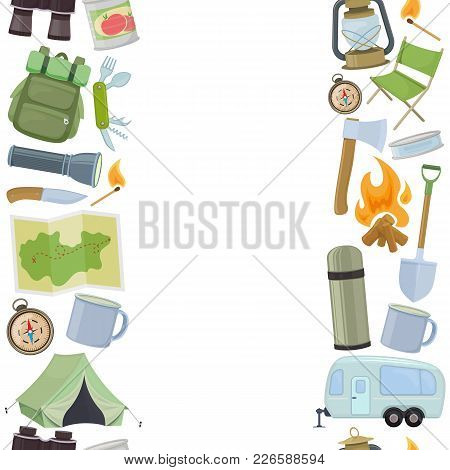 Seamless Vertical Borders Of Travel Equipment. Accessories For Camping And Camps. Colorful Cartoon I