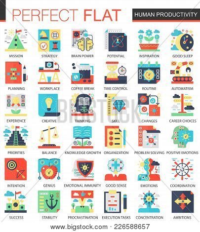 Human Productivity Vector Complex Flat Icon Concept Symbols For Web Infographic Design