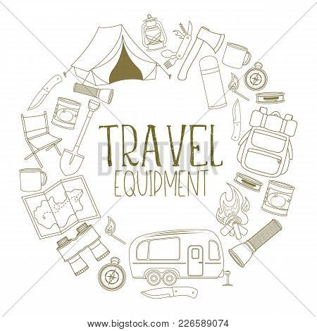 Set Of Travel Equipment. Accessories For Camping And Camps. Line Icons Of Camping And Tourism Equipm