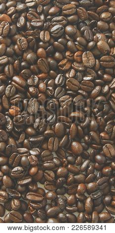Coffee Beans Texture. Coffee Background. Close-up Of Coffee Background.