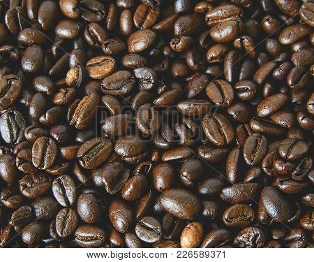 Coffee Beans Texture. Coffee Background.  Close-up Of Coffee Background