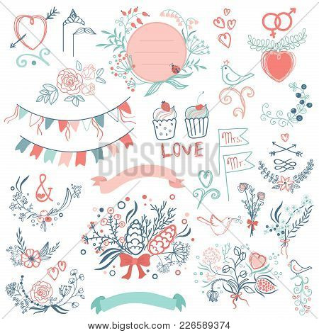 Wedding Modern Vintage Graphic Collection Of Cute Ribbons, Wreaths Arrows, Hearts, Laurel, And Label