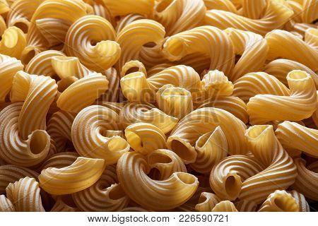 Dry Italian Cavatappi Pasta Texture
