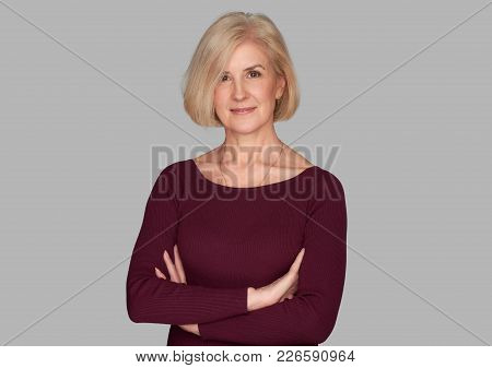 Confident Beautiful Old Woman Smiles