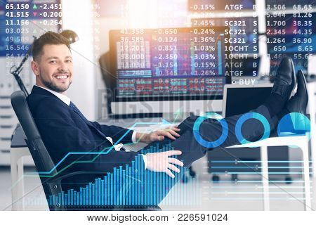 Stock exchange trader at workplace