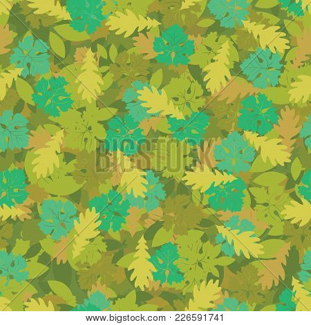 Seamless Pattern With Green Leaves Of Various Shades. Vector Background On A Theme Of Spring