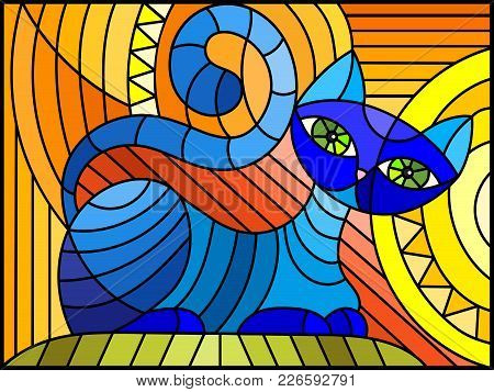 Illustration In Stained Glass Style With Abstract Blue Geometric Cat On An Orange Background