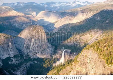 Yosemite National Park Valley summer landscape from Glacier Point. California, USA.