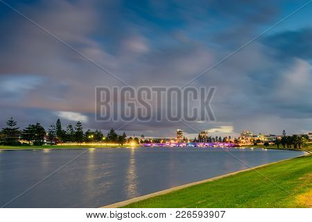 Patawalonga Lake In Glenelg After Sunset, City Of Holdfast Bay, South Australia. Long Exposure Effec