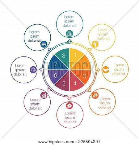 Template For Info Grapchics Diagram 8 Cyclic Processes, Step By Step, Colorful Circles In A Circle,