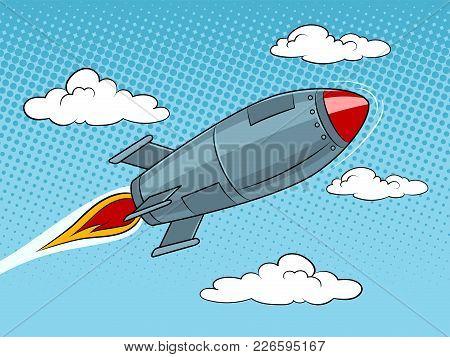Rocket Missile Flying At Sky Pop Art Style Vector Illustration. Text Bubble. Human Illustration. Com