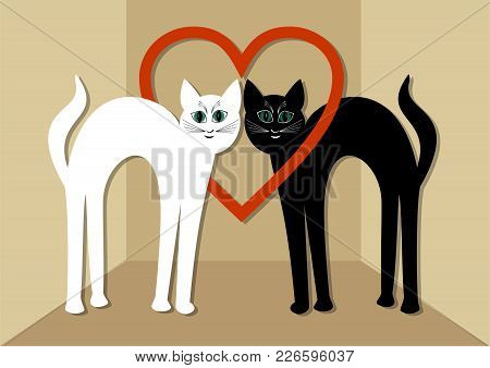White Cat And Black Tomcat In Love, Two Beautiful Cats With Red Heart. Unusual Valentines Day Card O