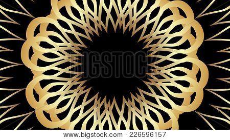 Elegant Golden Patterns On Black Background. Luxurious Vintage Motif. Vector Eps 10
