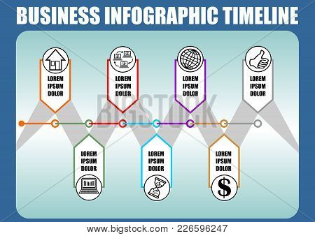 Infographic Timeline Template, Abstract Vector With Seven Elements, Icons And Copy Space, Blue Gradi