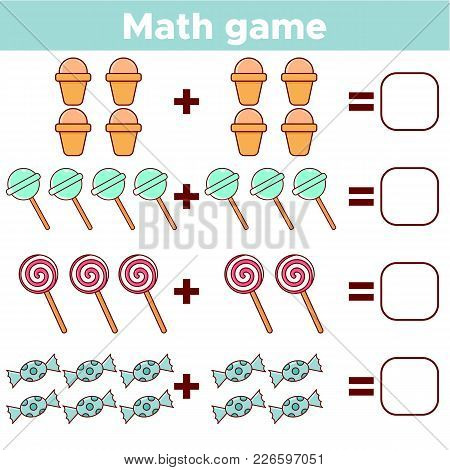 Educational A Mathematical Game For Preschool Children. Addition Worksheet For Kids. Count The Numbe