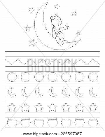 Handwriting Practice Sheet For Kids, Good Night Teddy Bear. Printable Worksheet. Coloring Page Or Bo