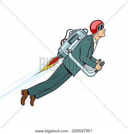 Man Flying Jet Pack Pop Art Style Vector Illustration. Human Illustration. Isolated Image On White B