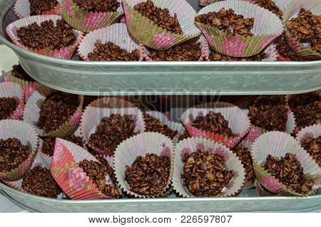 Dark Chocolate Rice Krispies Muffin Galvanized Metal Tier