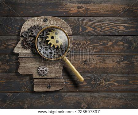 Psychology or invent conception. Brain function model 3d illustration.