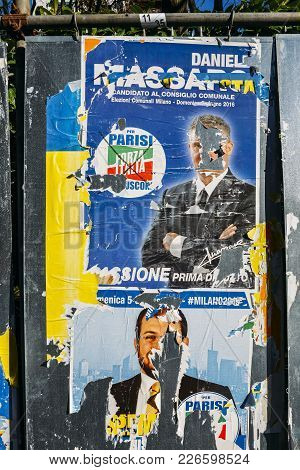 Ripped Up Defaced Billboards Ahead Of 2018 Italian General Election Is Due To Be Held On March 4Th,