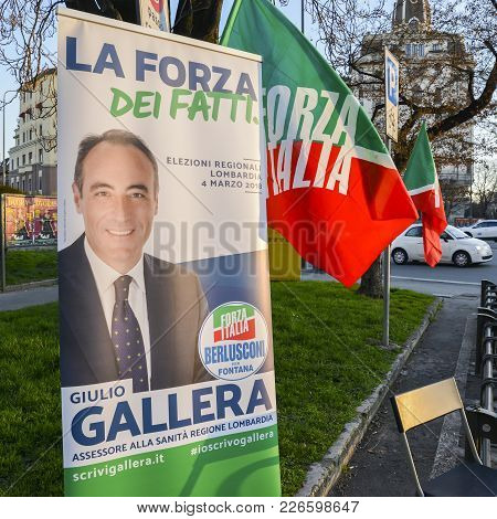 Campaigning On Street Of Milan, Italy For Giulio Gallera Of Berlusconi's Forza Italia Party Ahead Of