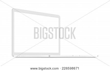 White Laptop Mockup - Left Perspective View. Responsive Screen To Display Web-site Design. Vector Il