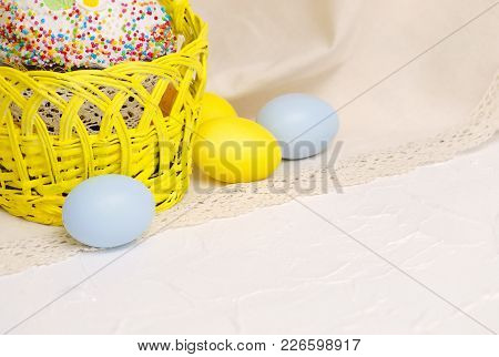 Kulich Cake With Easter Decoration And Colored Egs, Symbol Of Traditional Orthodox Easter.