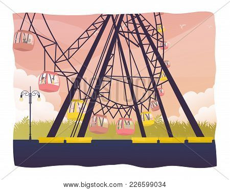 Colorful Ferris Wheel Of The Amusement Park In The Sky Background Vector