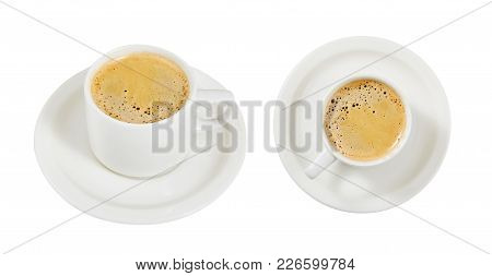 Coffee With Milk. Set. Cup. An Invigorating Drink. Breakfast. Morning.  For Your Design.