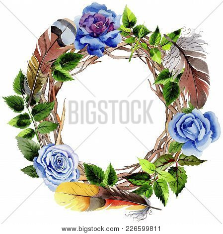 Leaves Of Rose Wreath In A Watercolor Style. Aquarelle Leaf For Background, Texture, Wrapper Pattern