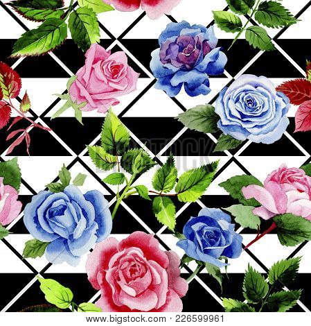 Leaves Of Rose Pattern In A Watercolor Style. Aquarelle Leaf For Background, Texture, Wrapper Patter