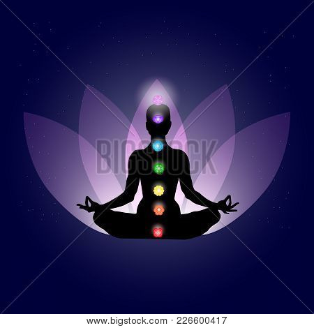 Famale Body In Yoga Assana With Seven Chakras In Shining Neon Colors On Gently Purple Lotus Petals A
