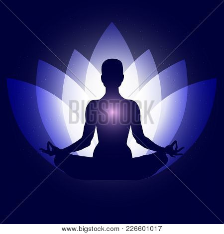 Human Body In Yoga Lotus Asana. Backgroung Neon Blue Lotus Petals Dark Blue Space Stars. Esoterics,
