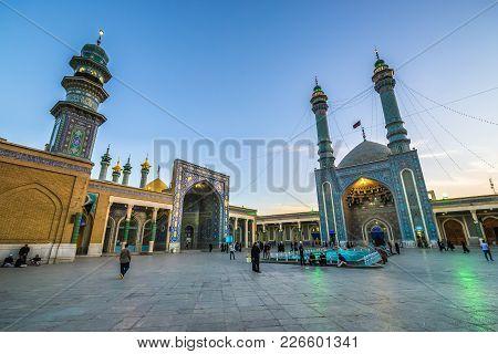 Qom, Iran - October 16, 2016: Pilgrims In Shrine Of Fatima Masumeh In Qom City