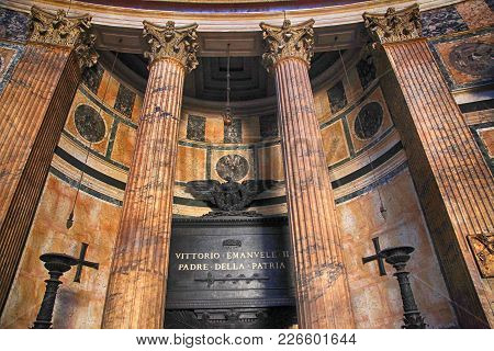 Rome, Italy - July 17, 2017: Tomb Of Vittorio Emanuele Ii In The Pantheon, Rome, Italy. He Was The F