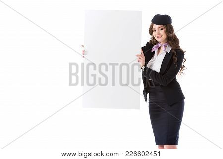Beautiful Stewardess Showing Empty Board Isolated On White