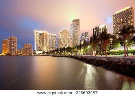 Skyline Of City Downtown And Brickell Key, Miami, Florida