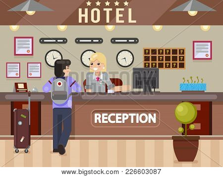 Hotel Girl Receptionist Answers Traveler Questions Guest Reception Desk Flay Design Vector Illustrat