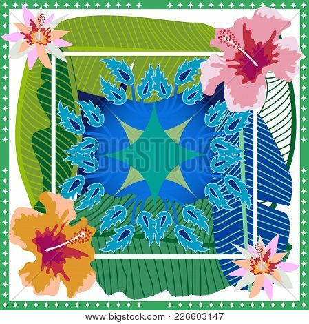 Aloha Textile Collection. Green, Blue And Pink Palette.