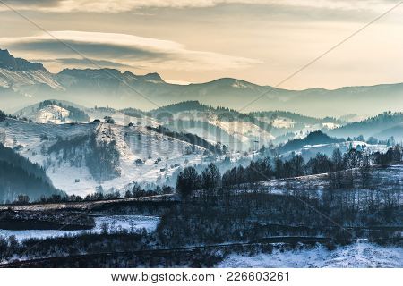 Beautiful Winter Landscape In The Mountains With Lenticular Clouds And Snow,pestera, Bucegi, Romania
