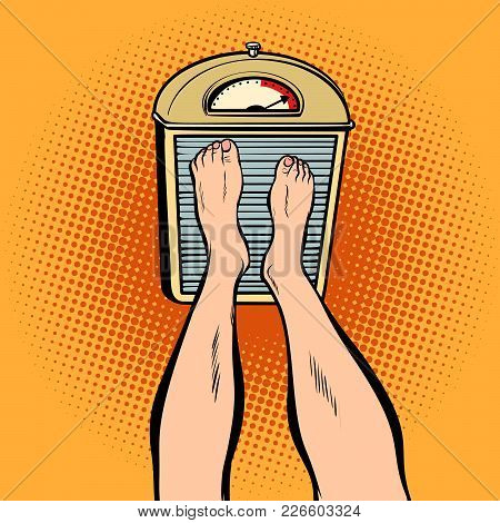 Feet On The Scales. Diet And Weight. Comic Book Cartoon Pop Art Retro Illustration