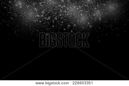 Falling Christmas Snow On A Transparent Background. White Glowing Lights. Flying Snowflakes. Vector